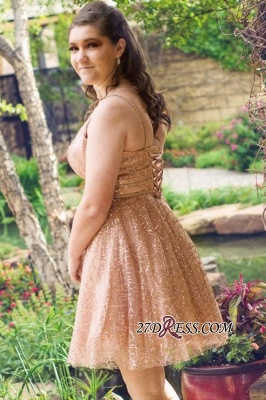 V-neck Short A-line Homecoming Dresses_1