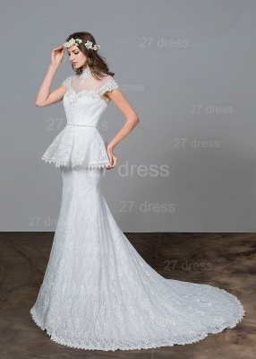 Modern Lace Tulle A-line Wedding Dress Beadings Sweep Train_2