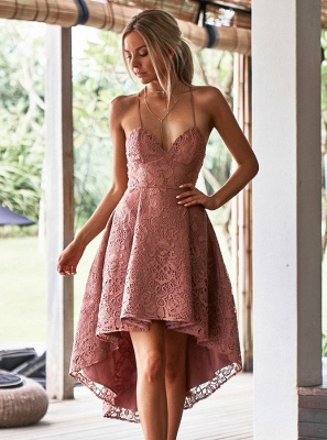 Modest Spaghetti Strap A-line Hi-lo Homecoming Dress | Lace Short Party Gown_1
