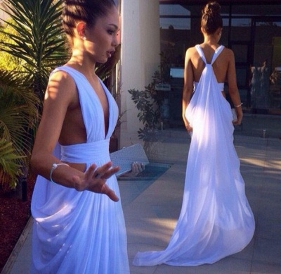 Sexy White Long Deep V-Neck Prom Dress 2020 Floor Length Front Split_3