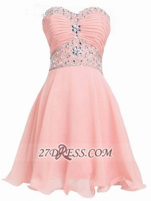 Lovely Semi-sweetheart Sleeveless Cocktail Dress Lace-up Crystals Chiffon Short Homecoming Gown_1