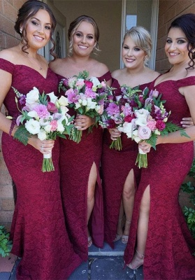 Gorgeous Off-the-Shoulder Bridesmaid Dress   2020 Mermaid Lace Maid of Honor Dress_1