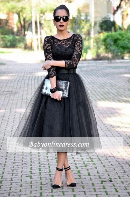 Tea-Length Popular A-Line Black Lace Tulle Evening Gowns_1
