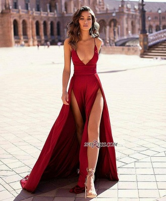 V-Neck Slit Spaghetti-straps Stain Sexy Evening Dresses_1