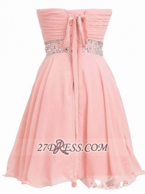 Lovely Semi-sweetheart Sleeveless Cocktail Dress Lace-up Crystals Chiffon Short Homecoming Gown_2