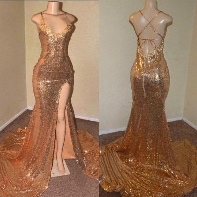 Sexy Sequins Appliques Prom Dresses   2020 Mermaid Evening Gowns With Slit BC0906_3