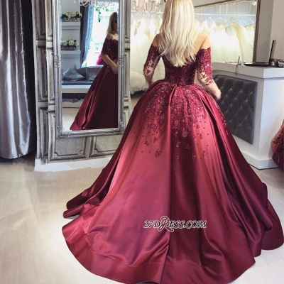 Crystal Appliques Long-Sleeves Off-the-Shoulder Burgundy Ball Prom Dresses_2
