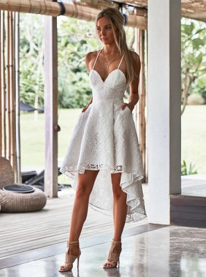 Modest Spaghetti Strap A-line Hi-lo Homecoming Dress | Lace Short Party Gown_4