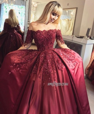 Crystal Appliques Long-Sleeves Off-the-Shoulder Burgundy Ball Prom Dresses_3