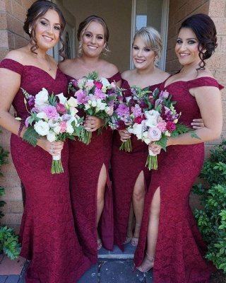 Gorgeous Off-the-Shoulder Bridesmaid Dress   2020 Mermaid Lace Maid of Honor Dress_4