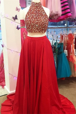 Newest Two Piece Beading Prom Dress Front Split_3