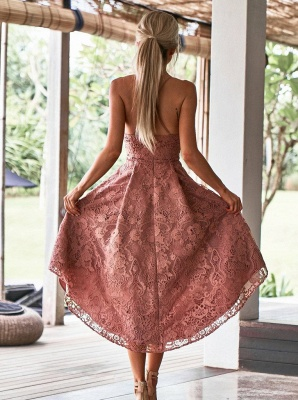 Modest Spaghetti Strap A-line Hi-lo Homecoming Dress | Lace Short Party Gown_2