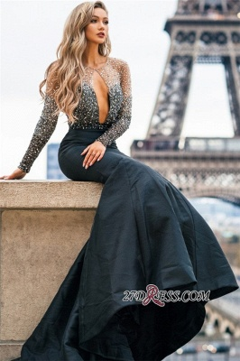 Black Long-Sleeves Appliques Mermaid Evening Gown | Gorgeous Sheer-Tulle Prom Dress_4