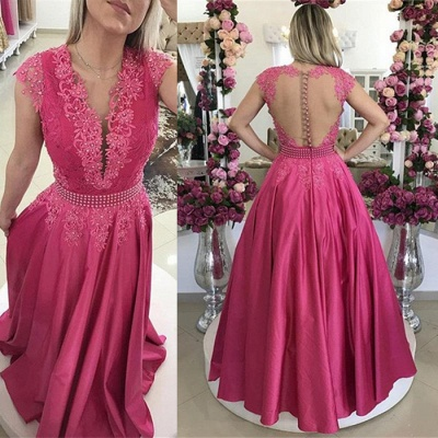 Cap Sleeve Fuchsia Lace 2020 Evening Dress Long On Sale BMT_3
