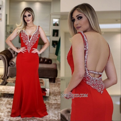 Red prom dress, 2020 evening dress with crystal_2
