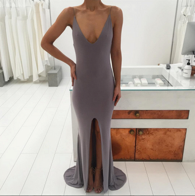 Sexy V-neck Sleeveless Prom Dress 2020 Slit Party Gowns_5