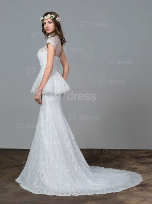 Modern Lace Tulle A-line Wedding Dress Beadings Sweep Train_3