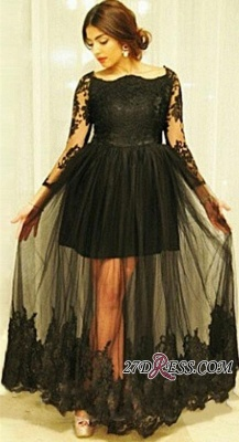 Tulle Gorgeous Long-Sleeve Lace Black Floor-Length Maternity Dresses_2