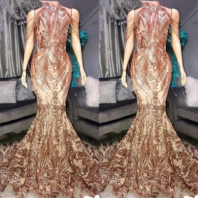 Glamorous Drapping Design Sequins Prom Dresses | 2020 Mermaid Long Formal Wears_2