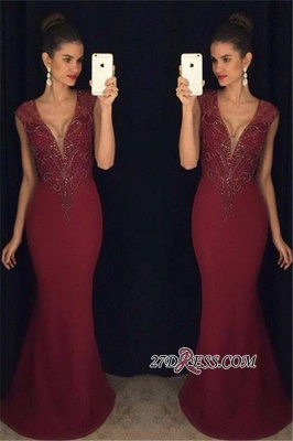 Mermaid Sleeveless Beadings Gorgeous Burgundy Prom Dress_1