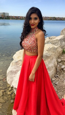 Newest Two Piece Beading Prom Dress Front Split_4