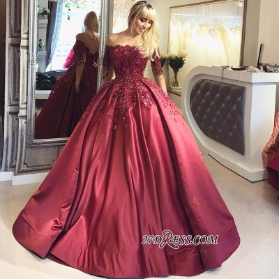Crystal Appliques Long-Sleeves Off-the-Shoulder Burgundy Ball Prom Dresses_4