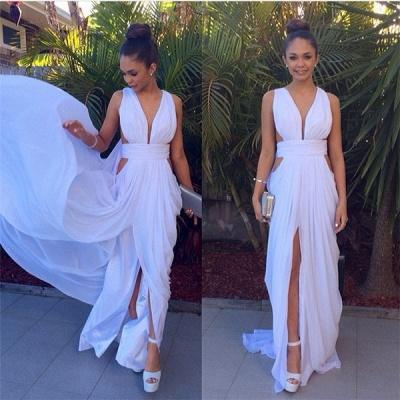Sexy White Long Deep V-Neck Prom Dress 2020 Floor Length Front Split_4
