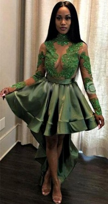 Green Hi-Lo Prom Dress | Long Sleeve 2020 Evening Party Gowns_1
