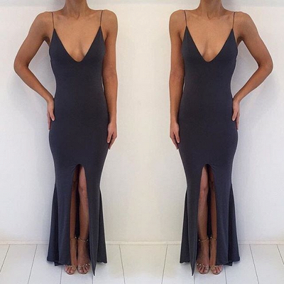 Sexy V-neck Sleeveless Prom Dress 2020 Slit Party Gowns_3