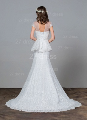 Modern Lace Tulle A-line Wedding Dress Beadings Sweep Train_4