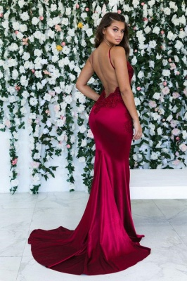 Chic Burgundy Mermaid Spaghetti Strap Sweep Train Evening Dress | Sleeveless Lace Appliques Backless Prom Gown BC0559_2