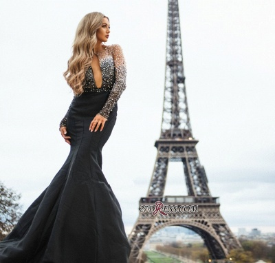Black Long-Sleeves Appliques Mermaid Evening Gown   Gorgeous Sheer-Tulle Prom Dress_2