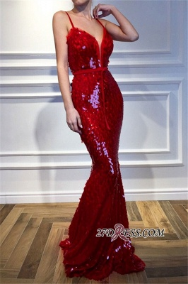 Red Spaghetti-Straps Mermaid Prom Dresses | 2020 Sequins Sleeveless Evening Gown BC2302_4
