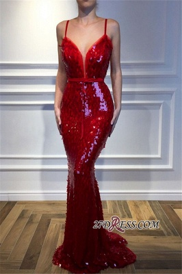 Red Spaghetti-Straps Mermaid Prom Dresses | 2020 Sequins Sleeveless Evening Gown BC2302_3