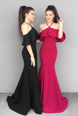 Charming Halter Ruffles Prom Dress   Mermaid Floor-Length Evening Gowns With Ruffles_2