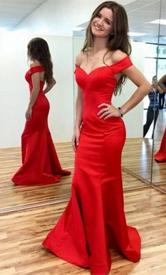 Sexy Red Mermaid 2020 Prom Dress Off-the-shoulder Sweep Train_2
