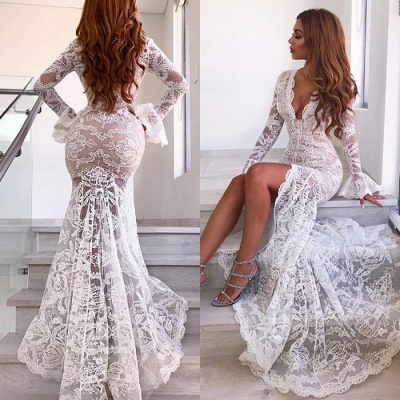 Sexy Long Sleeve V-Neck Prom Dress | 2020 Lace Evening Party Dress With Slit_4