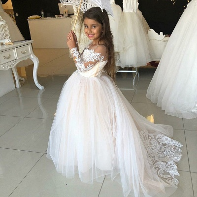 Lovely Long Sleeves Lace Flower Girl Dress | 2020 Tulle Girls Pageant Dress_2