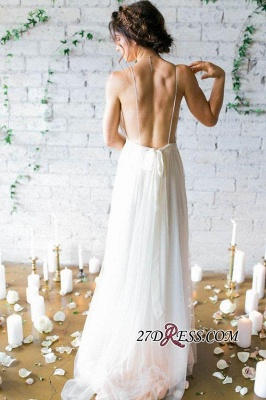 V-Neck Beach Chiffon Sleeveless Long Elegant Wedding Dress_2