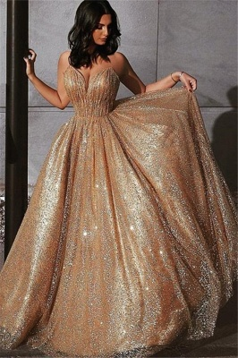 Elegant Sequins A-Line Evening Dresses | Newest Glamorous Empire Princess Strapless Prom Dresses_4