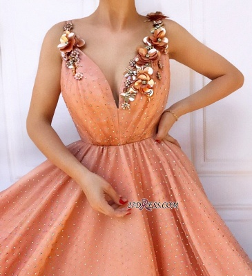 Orange Flower Appliques A-Line Prom Dress | Straps Sleeveless Tulle Evening Gown_2