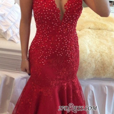 Mermaid Delicate V-neck Red Pearls Lace Cap-Sleeve Prom Dress_2