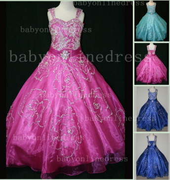 Beaded Girls Pageant Dresses for Sale Hot Beautiful 2020 Straps Crystal Organza Gowns for Sale_1