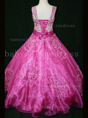 Beaded Girls Pageant Dresses for Sale Hot Beautiful 2020 Straps Crystal Organza Gowns for Sale_5