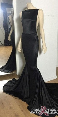 Long Open-Back Black Cheap Mermaid Court-Train Sexy Evening Dress_2