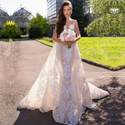 Chic Sleeveless Lace Wedding Dresses | 2020 Long Tulle Ruffles Wedding Gowns BC1777_2