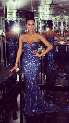 Glamorous Sweetheart Mermaid Prom Dresses Sequined Sexy Evening Dresses_3