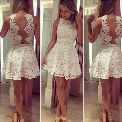 Newest Lace Jewel Mini Homecoming Dress 2020 Sleeveless High Quality_3