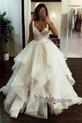 A-line Ruffles V-neck Fashionable Straps Wedding Dress_1