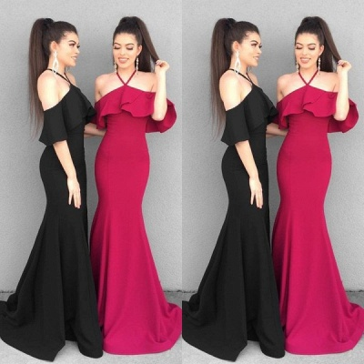 Charming Halter Ruffles Prom Dress   Mermaid Floor-Length Evening Gowns With Ruffles_1